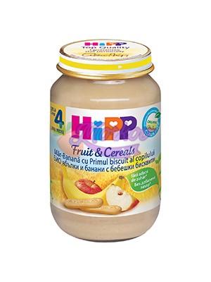 БИО Ябълки и банани с бебешки бисквити Hipp
