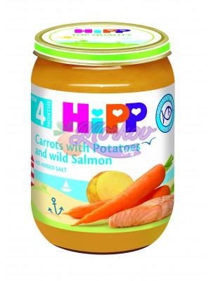 Рибно меню сьомга с ранни моркови и картофи Hipp