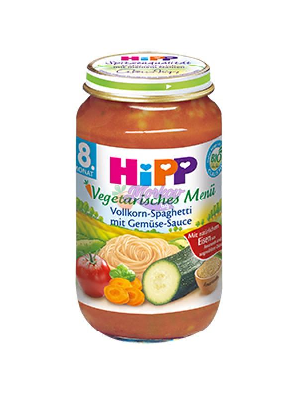 Био Вегетарианско меню пълнозърнести спагети със зеленчуков сос Hipp