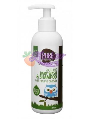 Успокояващ измиващ гел и шампоан за бебета с био баобаб Pure Beginnings