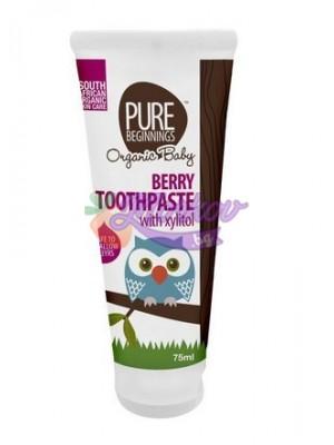 Паста за зъби за бебета с вкус на малина, без флуорид