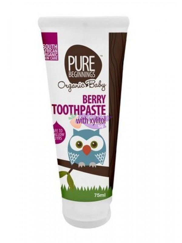 Паста за зъби за бебета с вкус на малина, без флуорид Pure Beginnings
